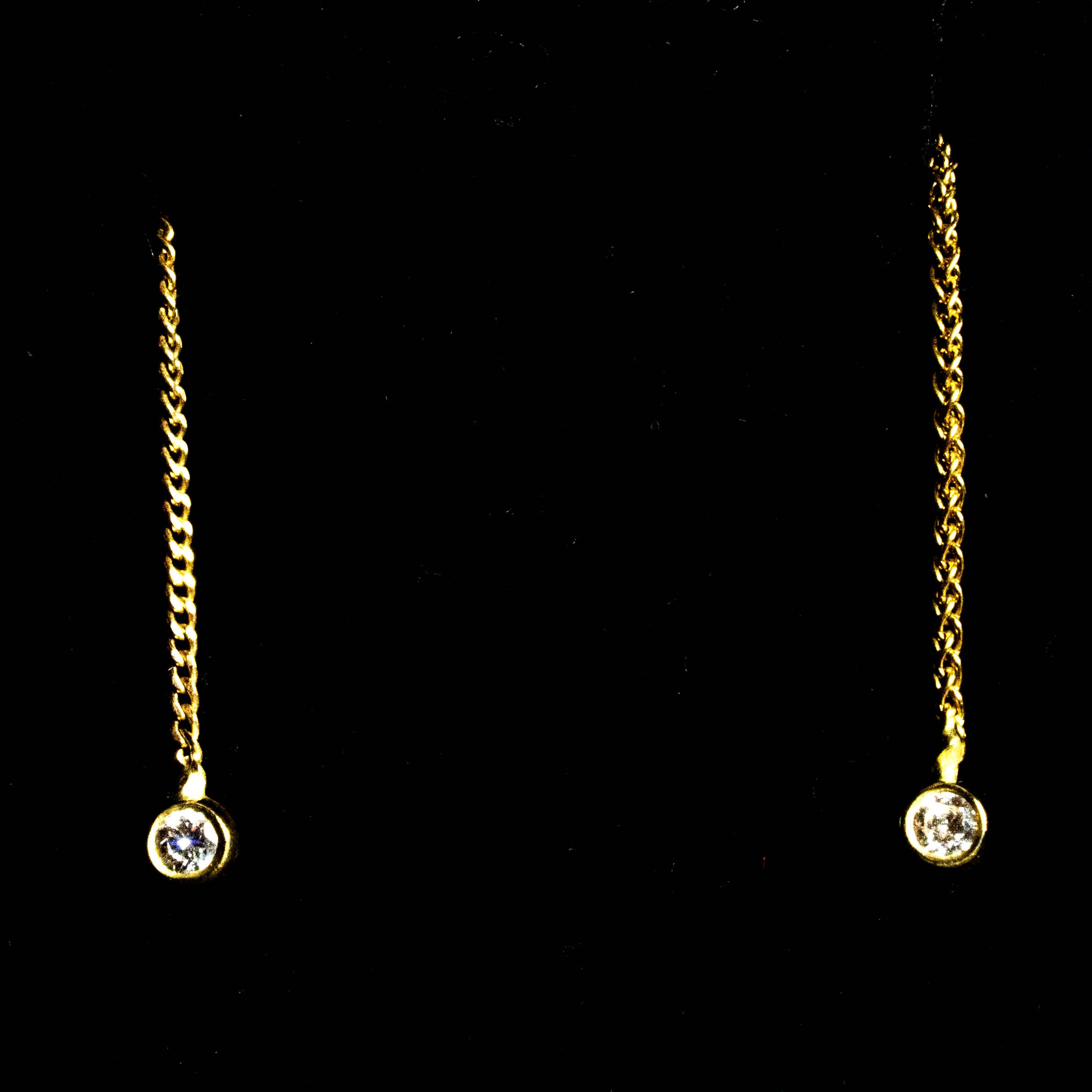18K Small round White Diamond  on a chain Earring
