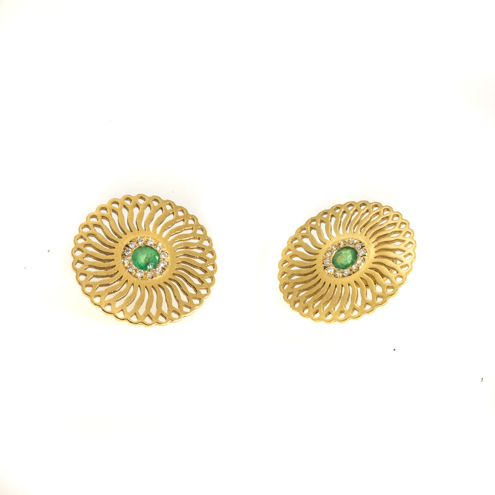 <b>18k</b> - Emerald and diamonds Sunflower Stud Earrings