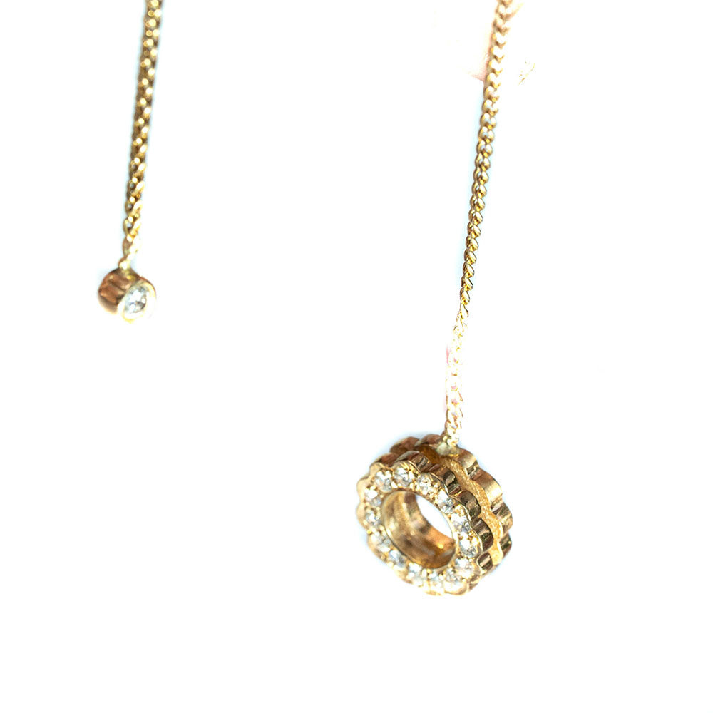 18K Diamond Flower on a chain Earring-ONE EARRING