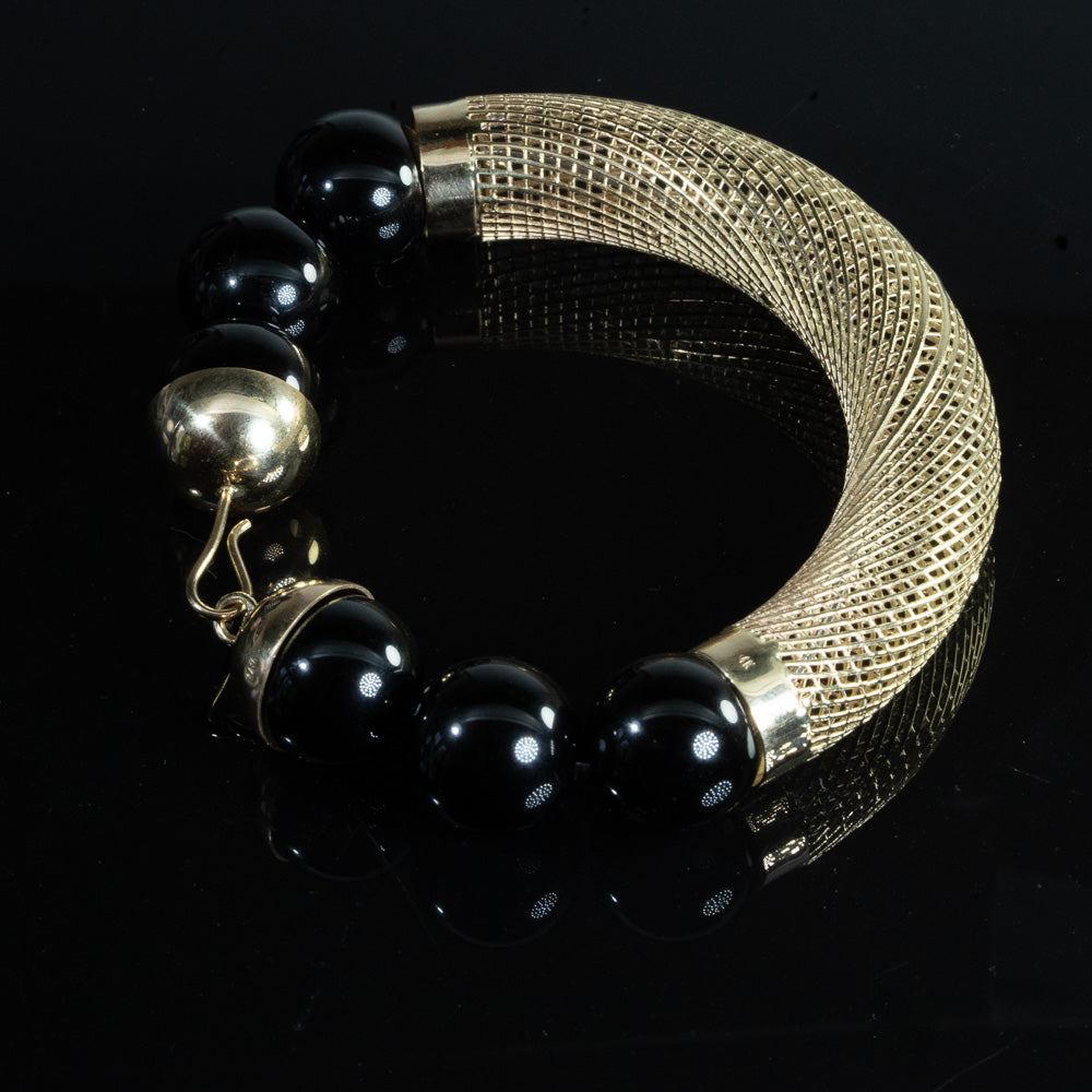 14k Yellow Gold Unique Bangle Bracelet 16mm Onyx Beads