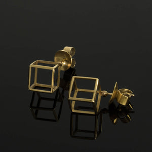 18k - Geometric Stud Cube Earrings