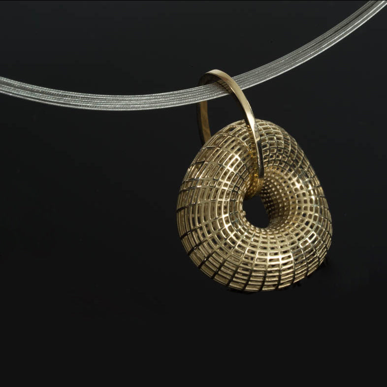 14k - Twisted Torus pendant - on ring