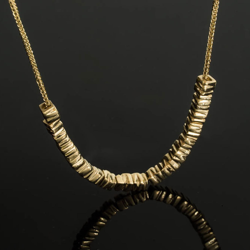 18K - Small 34 Smashed Beads Necklace