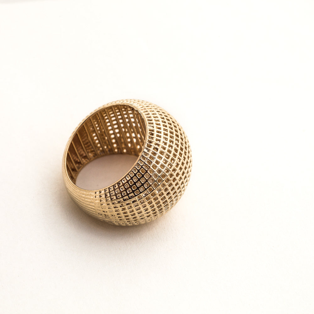 14 Karate yellow Gold Netline Bombe Ring