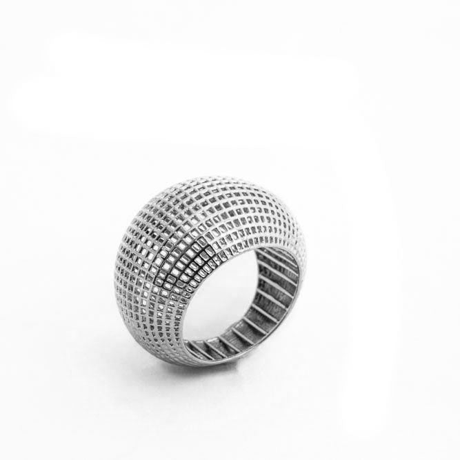 Sterling Silver Net Bombe Ring