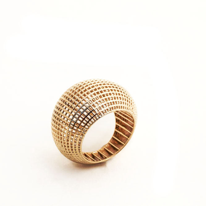14 Karate Gold Net Dome Ring