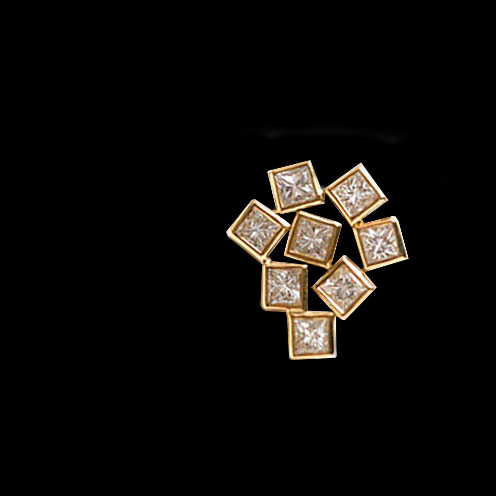 18K - VS Diamonds Squares. Cluster  Pendant