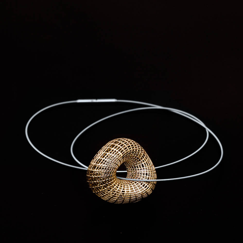 14K- Large  Twisted Torus Pendant