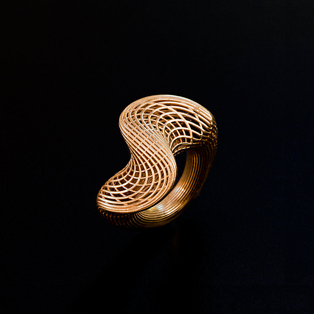 18K yellow gold - Top Twisted Net Ring