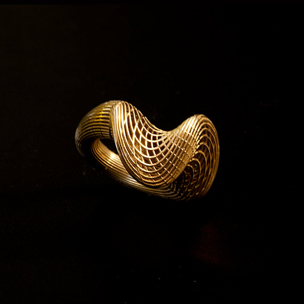14K Yellow Gold - Top Twisted NET Unique Ring