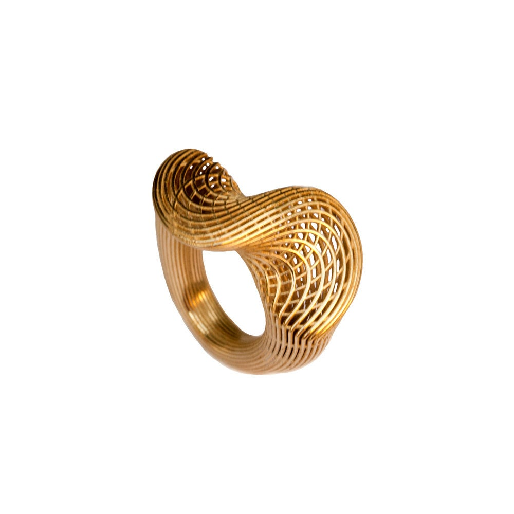 14K Yellow Gold - Top Twisted NET Contemporary Ring