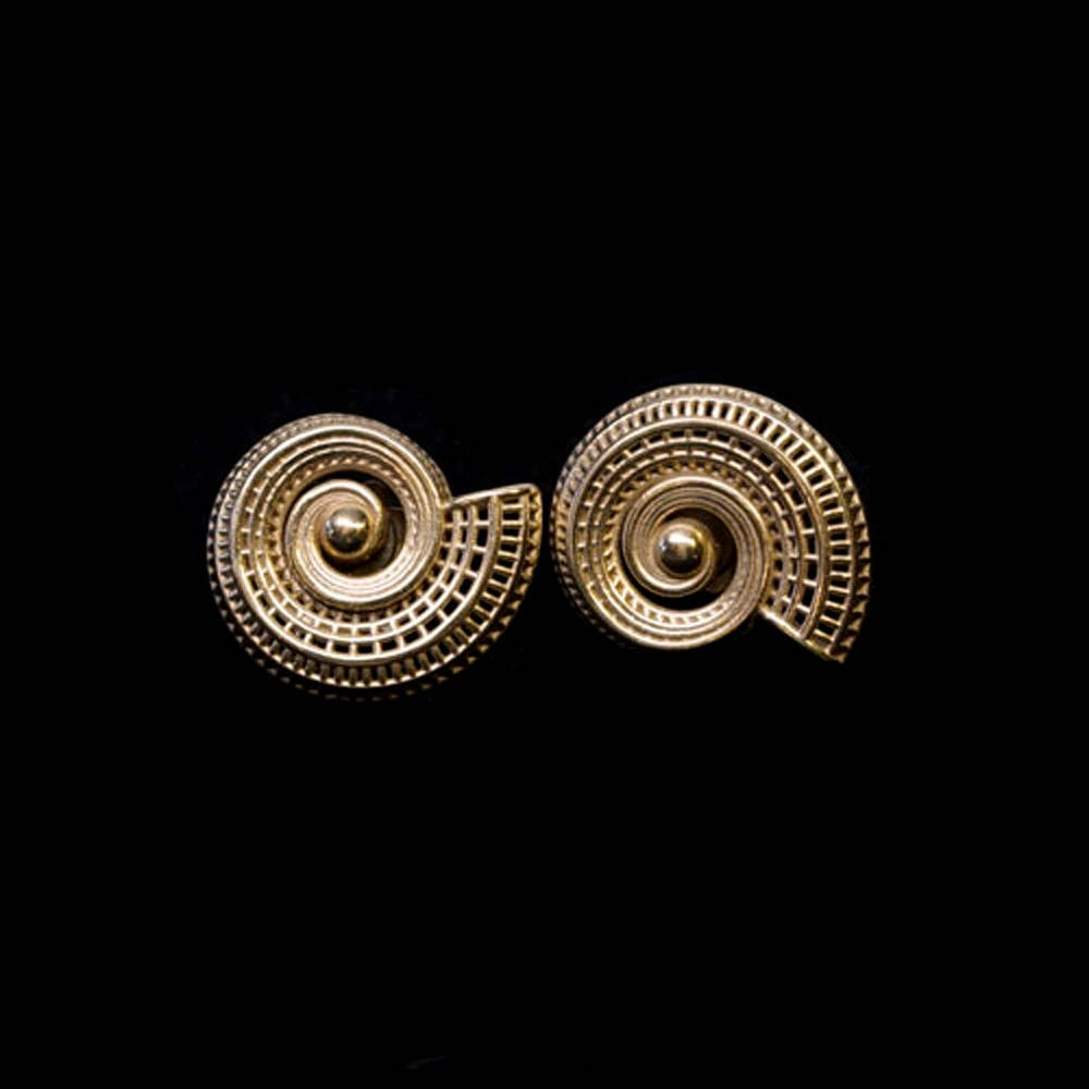 18k yellow gold  - Small Spiral Unique Contemporary Earrings