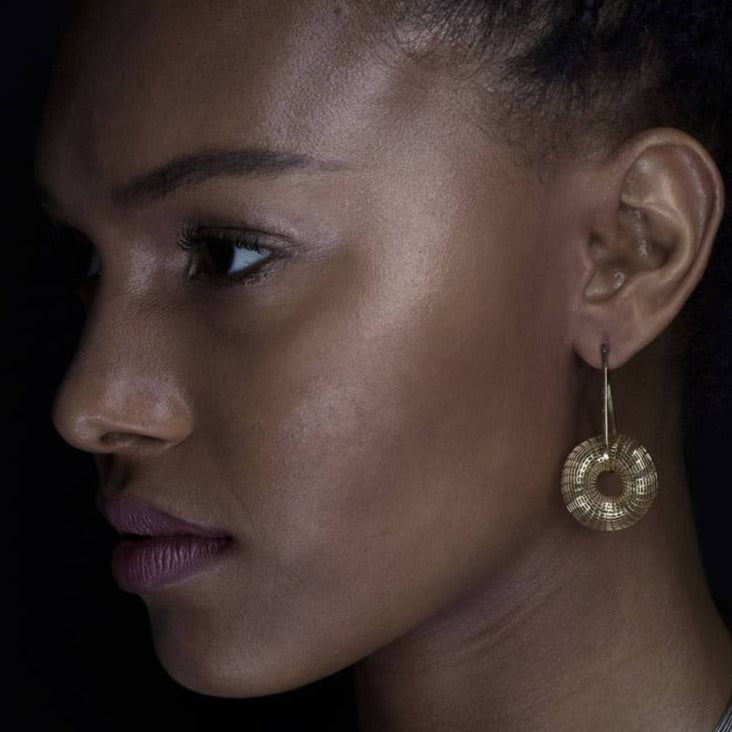 14k Statement Dangle Torus Earrings, Unique Fine Jewelry