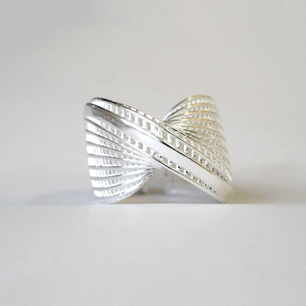 Sterling Silver - Mobius, Unique, Cocktail Ring- Line model