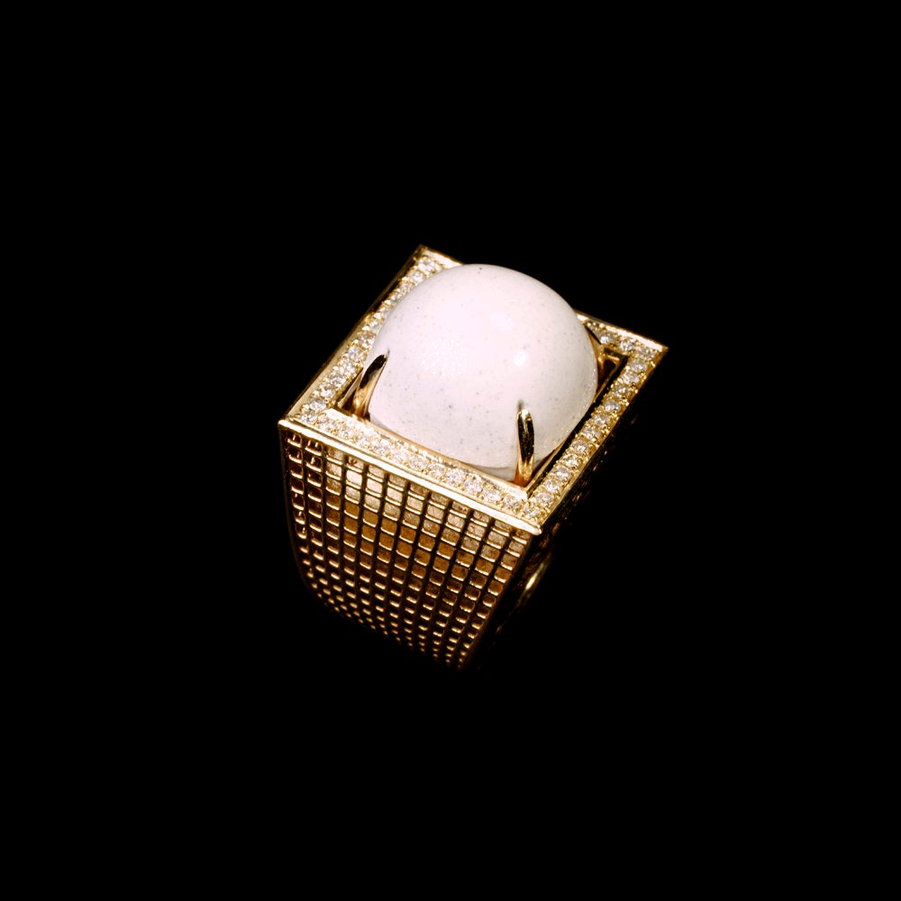 14 Karat Gold  White Agate  Square large Ring