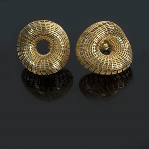 14K - Large twisted torus Stud Earrings