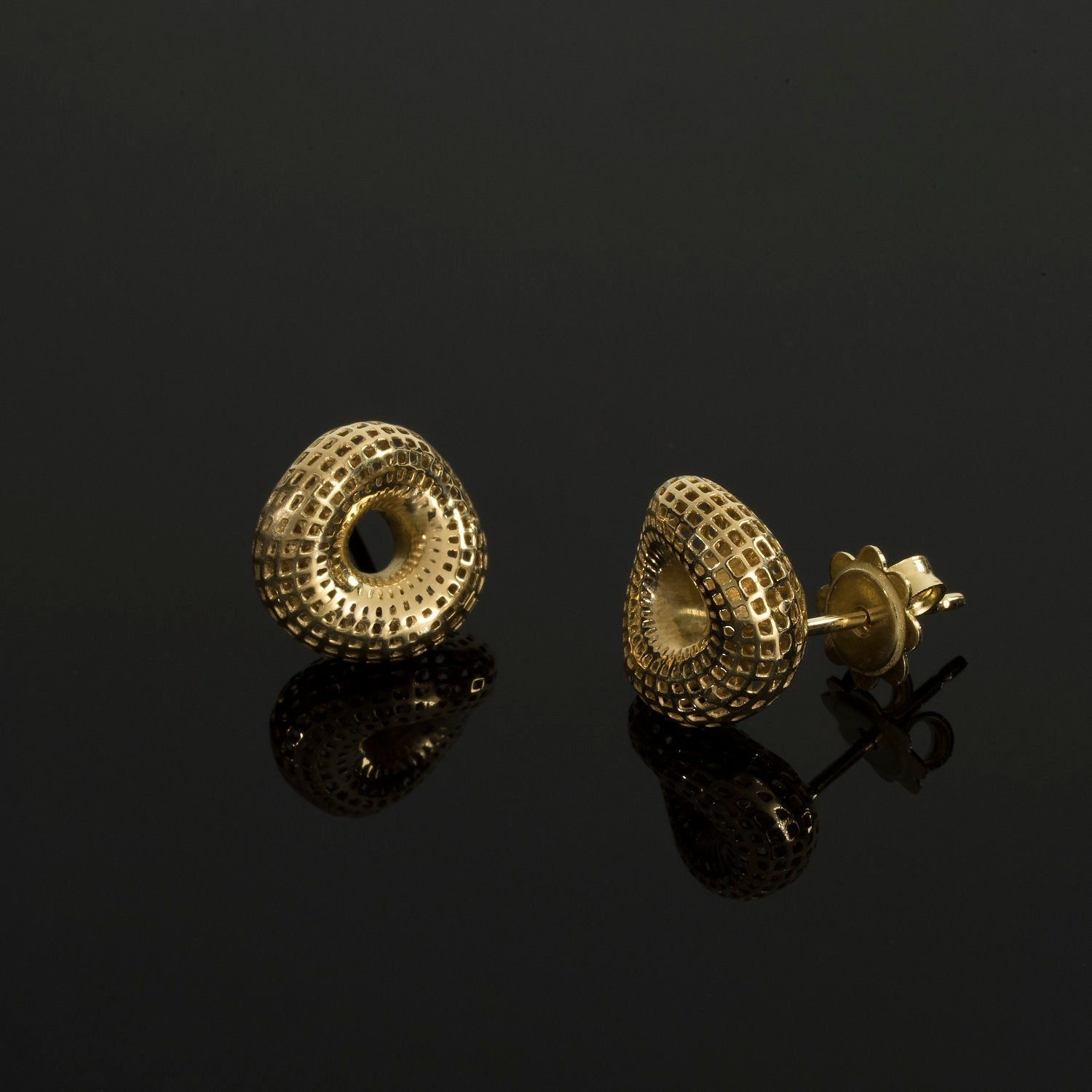 18k Gold Small Stud Torus Earrings
