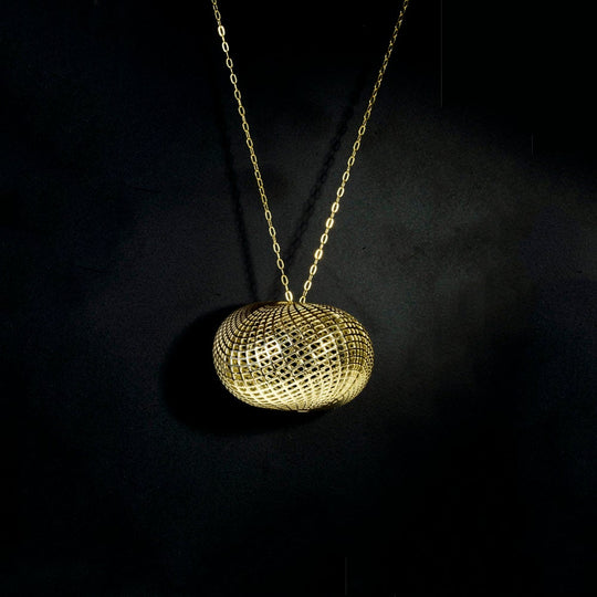 14 Karat Net Big Pebble Pendant