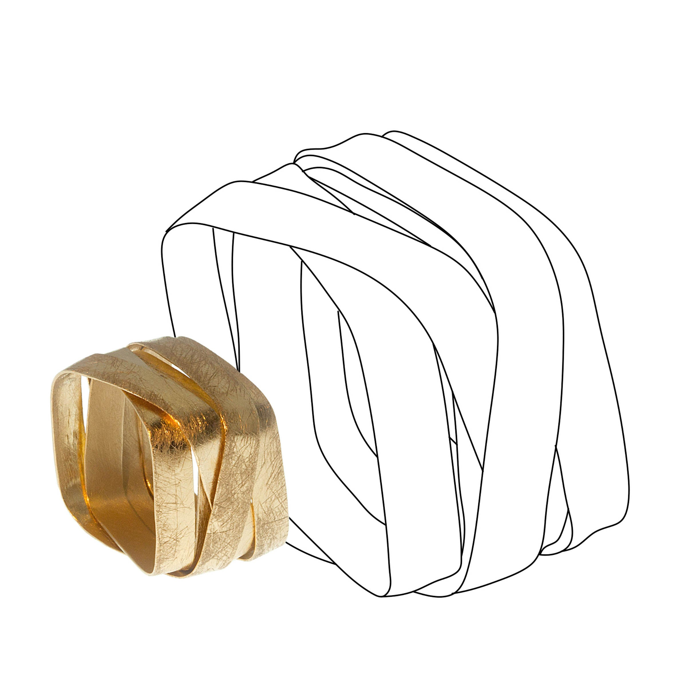 18K yellow gold- Square - 5 Loops Modern Ring