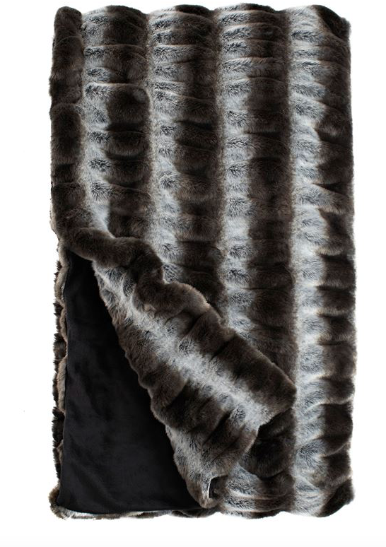 COUTURE COLLECTION GREY CHINCHILLA FAUX |  FUR THROWS