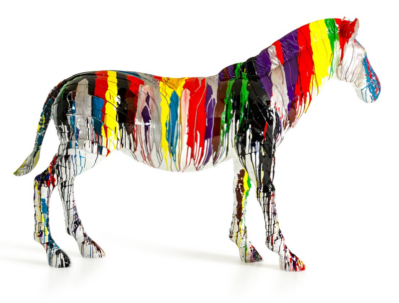 LARGE RAINBOW ZEBRA |  SCULPTURE