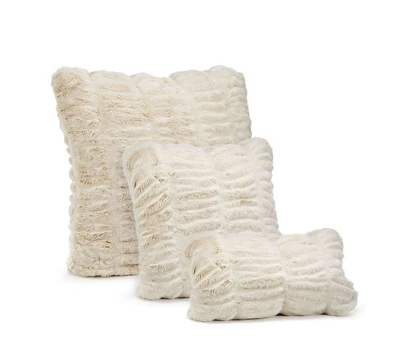 COUTURE COLLECTION IVORY MINK  |  FAUX FUR PILLOWS.
