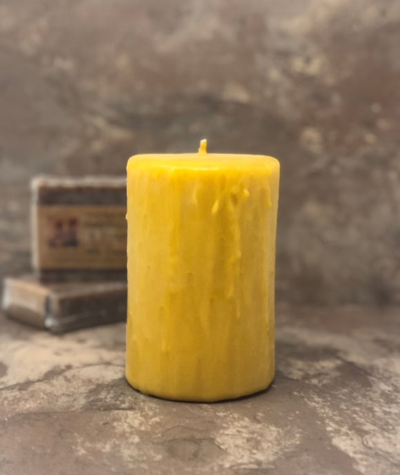 Beeswax Pillar Candle - Drip Effect Overlay