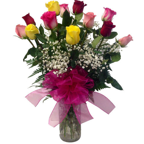 Dozen Longstem Mixed Colored Roses Arranged