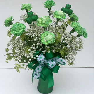 Green Carnations Arranged in a Vase