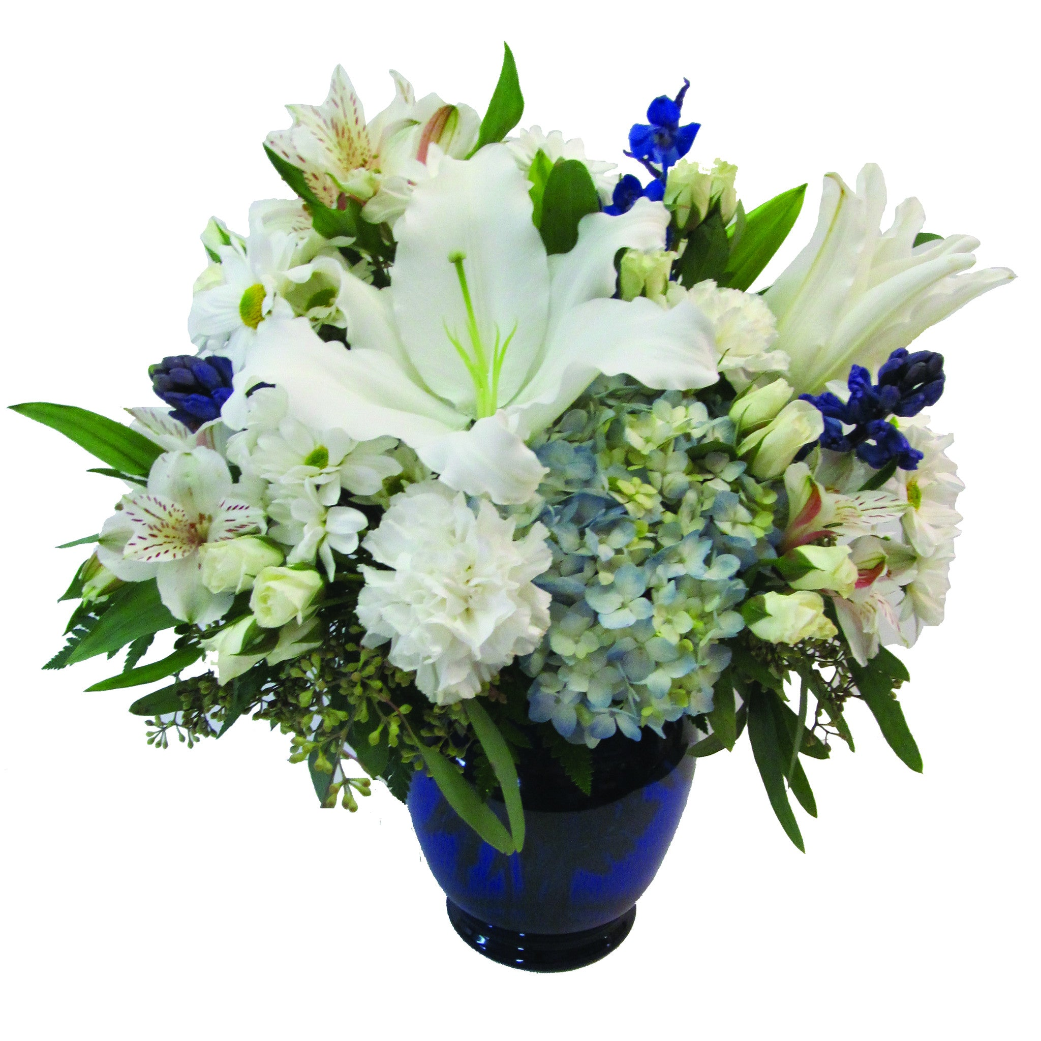 Blue and white vase of flowers buffalo ny lipinoga florist blue and white vase dhlflorist Image collections