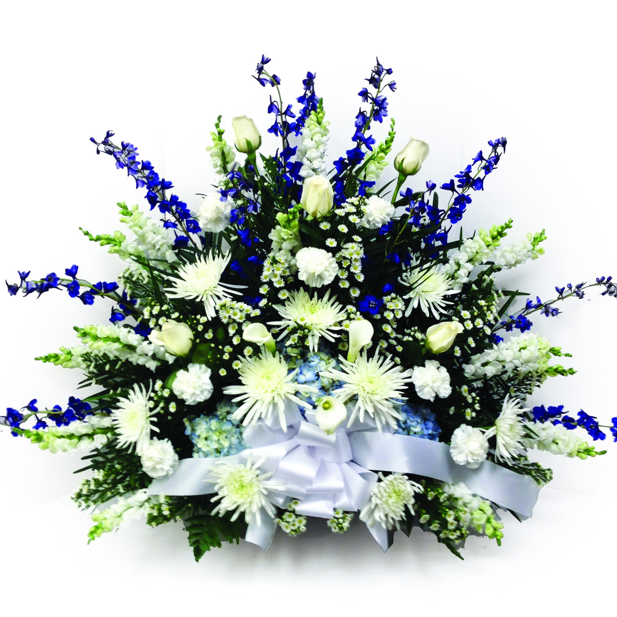 Blue white funeral flowers clarence ny lipinoga florist blue white traditional style funeral piece mightylinksfo Choice Image