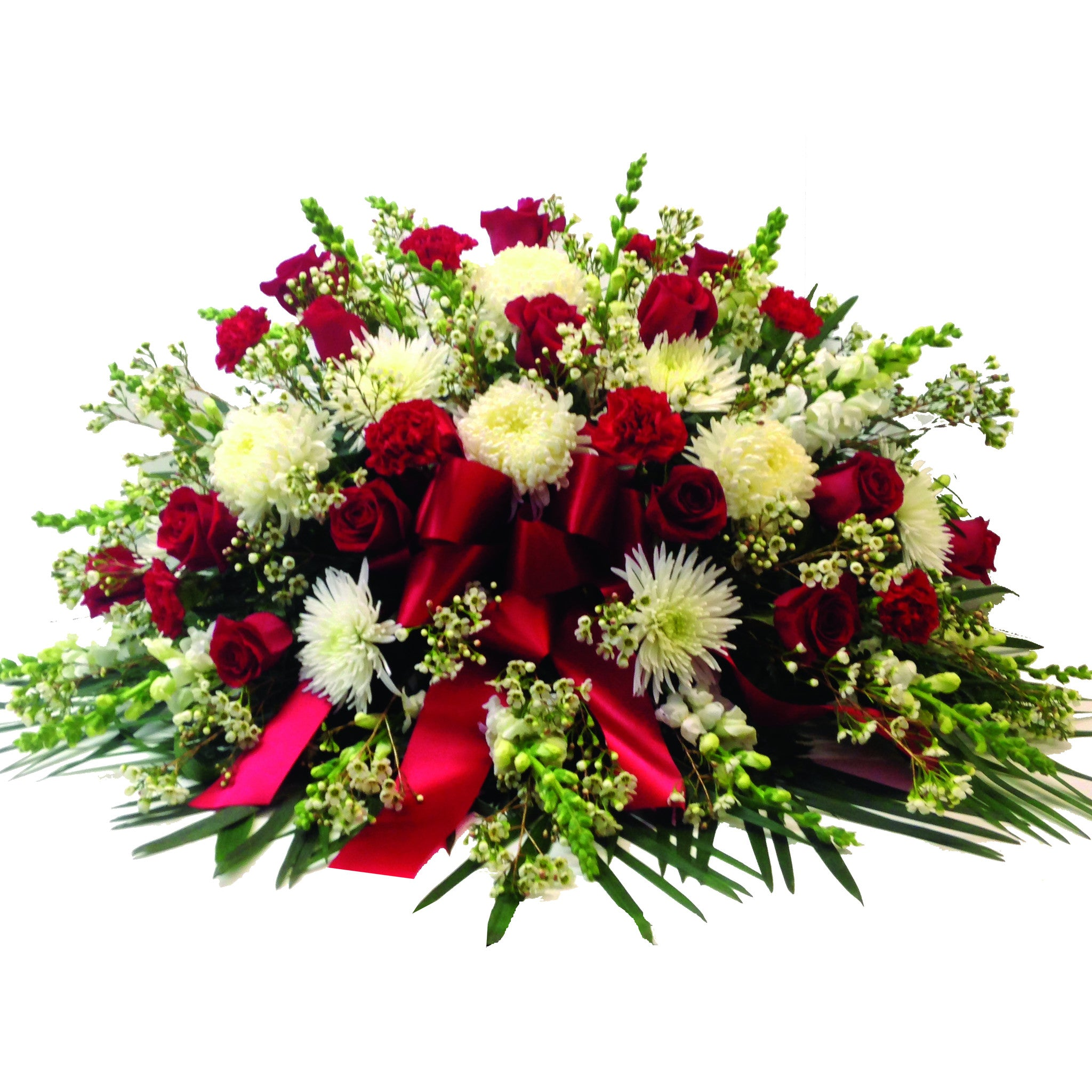 Red white casket spray funeral flowers clarence ny lipinoga classic red white casket spray izmirmasajfo