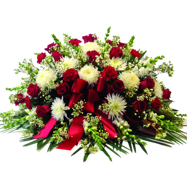Classic Red & White Casket Spray