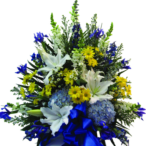 Blue, White & Yellow Traditional Style Funeral Piece