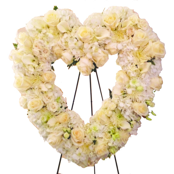 Elegant White Funeral Heart Wreath