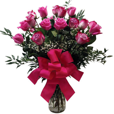 Premium Longsteam Pink & Purple Roses Arranged(Choose Quantity)