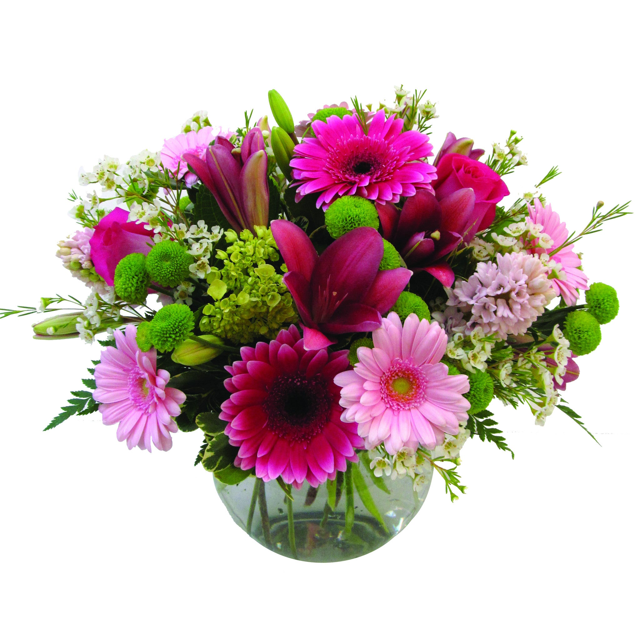 Pink green centerpiece by lipinoga florist clarence ny