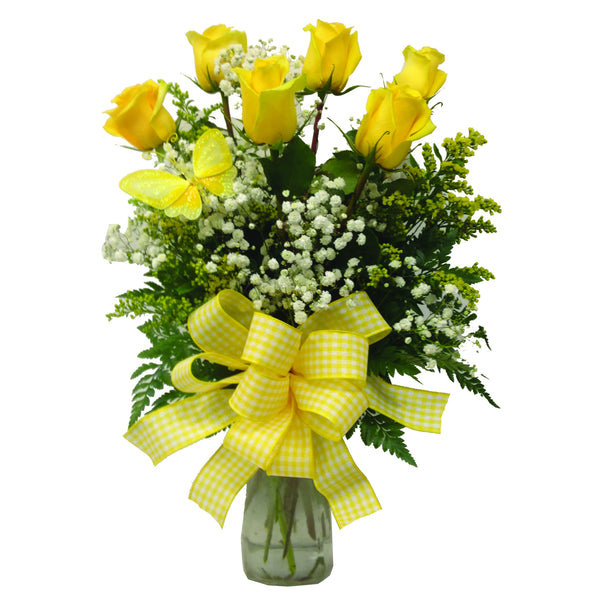 Half Dozen Longstem Roses Arranged in Vase (choose your own rose color)