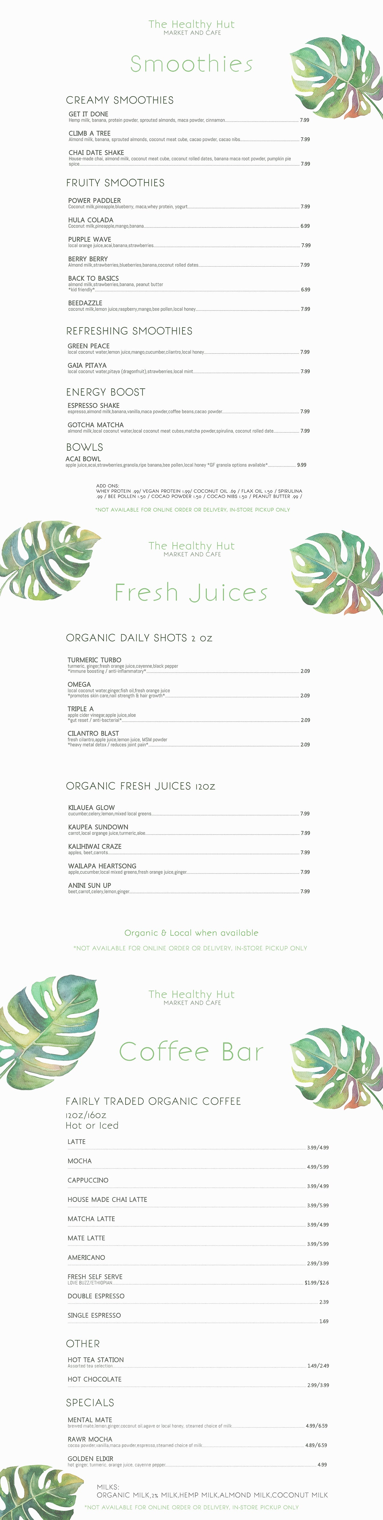Healthy Hut, market and cafe, kauai, juice bar, coffee bar, health, wellness, hawaii, local, organic, grocery store
