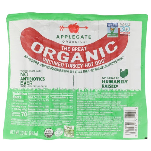 Applegate - Hot Dog Turkey Organic - 10oz
