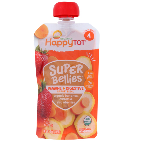 Happytot - super bellies banana strawberry 4 oz