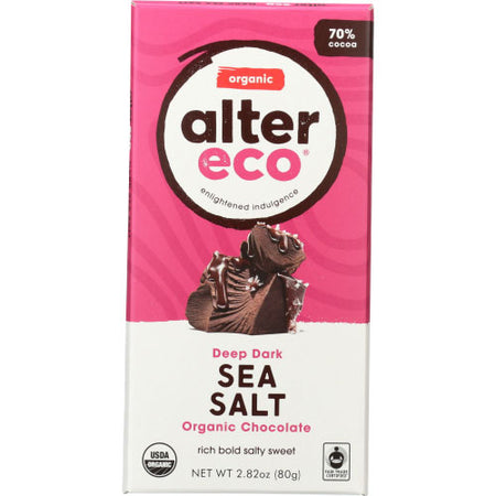 Alter Eco - Chocolate Bar Dark Sea Salt - 2.82 OZ