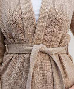 Long Belted Cashmere Cardigan
