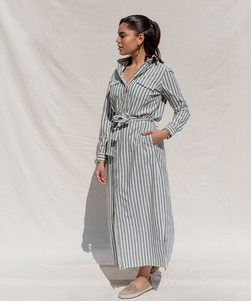 Striped Long Shirt Dress