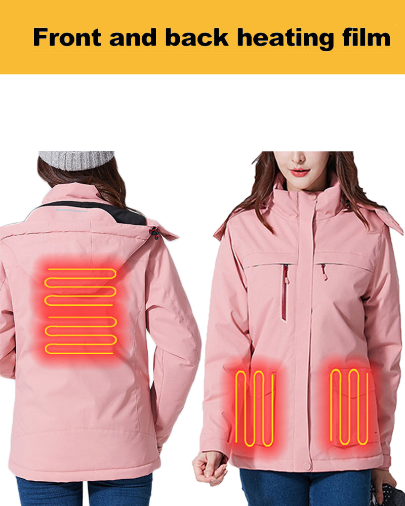 Women's Pink Heated Jacket Winter Jacket with Hood