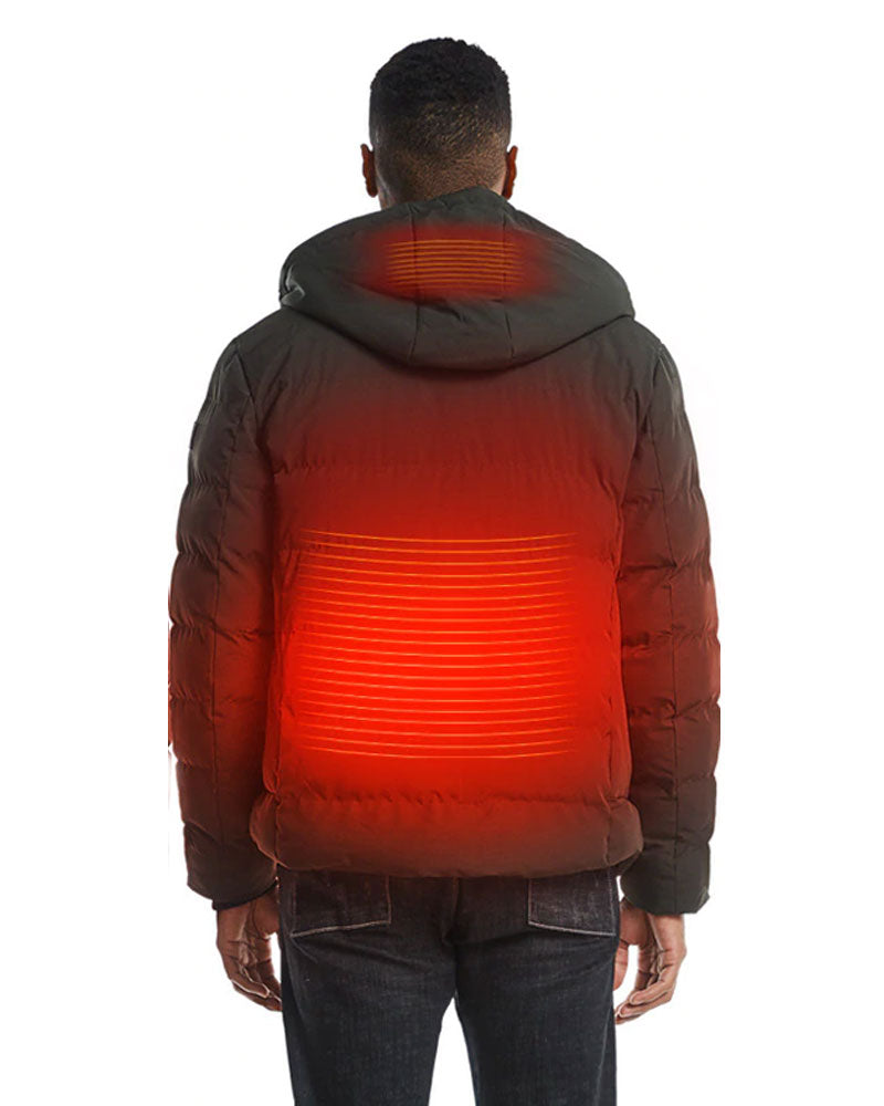 Men's Heated Hooded Jacket with Battery Pack