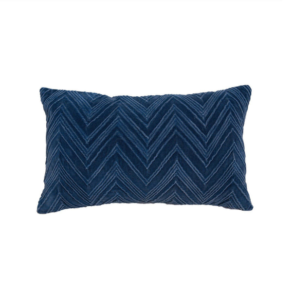 Coussin Novare Pillow 12 x 20 - Blue Velvet - Thirty Six Knots
