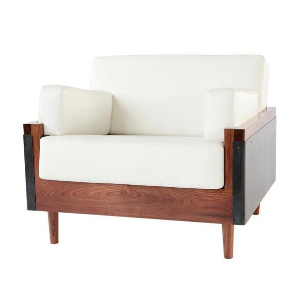 Lincoln Lounge Chair - Walnut, Blackened Steel, White Leather - Thirty Six Knots - thirtysixknots.com