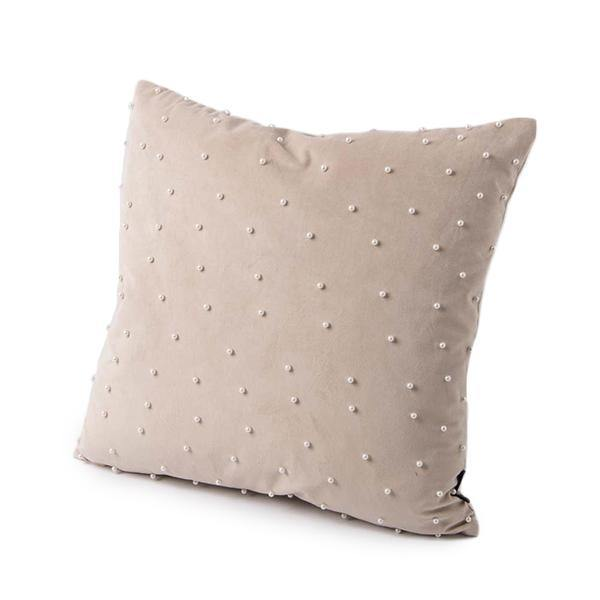 Meghan Pillow - Beige Velvet with Pearl Accents - Thirty Six Knots
