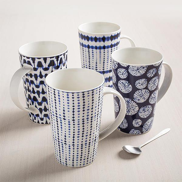 Shibori Mugs - Set of 4 - Thirty Six Knots - thirtysixknots.com